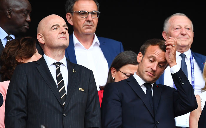 Fifa President Gianni Infantino and French President Emmanuel Macron attend the France 2019 Women's World Cup football final match between USA and the Netherlands, on 7 July 2019, at the Lyon Stadium in Lyon, central-eastern France.  Picture: AFP