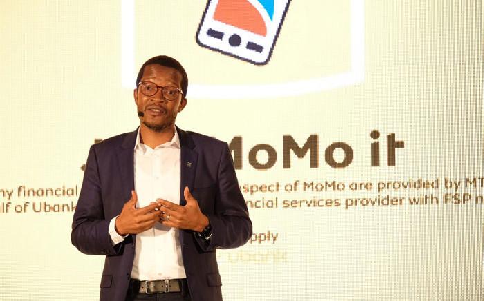 MTN SA CEO Godfrey Motsa launches the company's money service app MoMo om 30 January 2020. Picture: @MTNza/Twitter