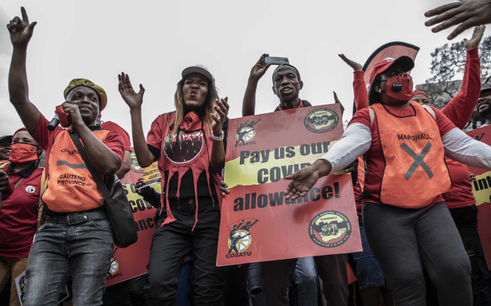 Cosatu President Zingiswa Losi leads the march to Treasury in Pretoria for the national strike on 7 October 2020. Picture: Abigail Javier/EWN