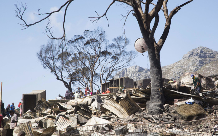 Thousands of people have been left homeless following a fire in an informal settlement in Hout Bay. Picture: Cindy Archillies/EWN.