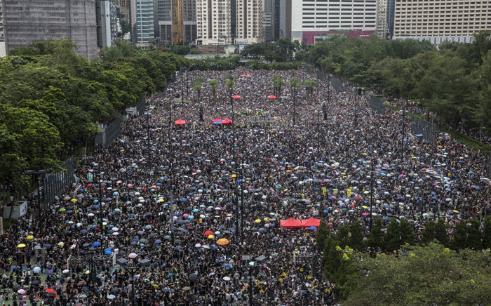Protesters gather for a rally in Victoria Park in Hong Kong on 18 August 2019, in the latest opposition to a planned extradition law that has since morphed into a wider call for democratic rights in the semi-autonomous city. Picture: AFP
