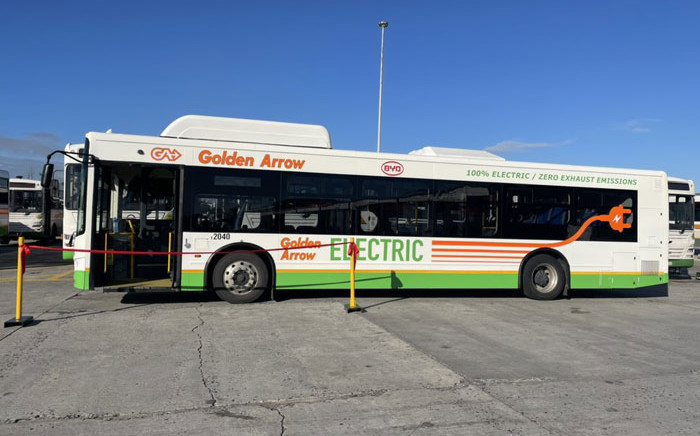 The Golden Arrow electric bus will operate between Cape Town and Retreat. Picture: @mec_mitchell/Twitter