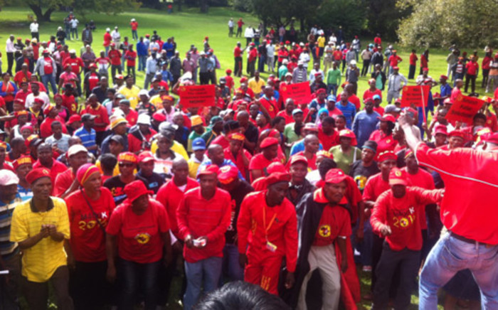 Members of the National Union of Metalworkers of South Africa (Numsa) sing at Zoo Lake in Johannesburg ahead of their march to Nedlac offices on 19 March 2014. Picture: Zikhona Miso/EWN.