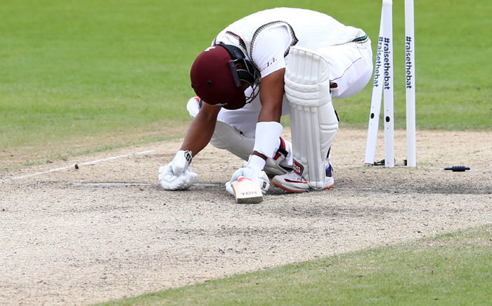West Indies' Shai Hope reacts after being bowled by England's Stuart Broad for 7 during play on the final day of the second Test cricket match between England and the West Indies at Old Trafford in Manchester, northwest England on 20 July 2020. Picture: AFP