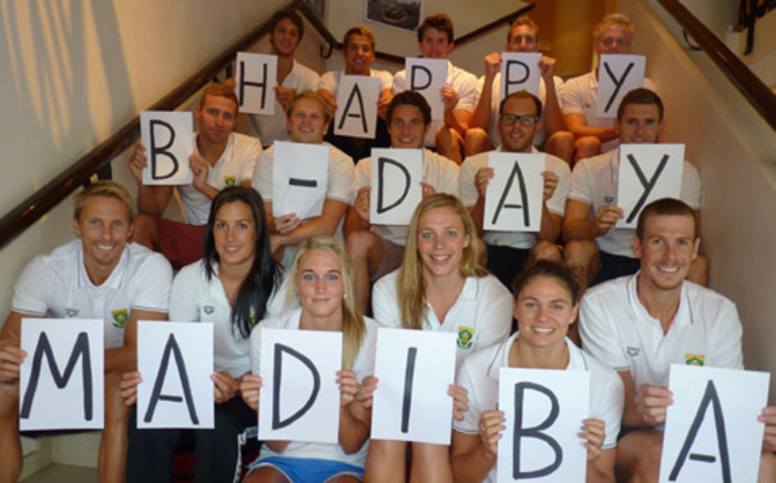 """The SA Olympic Swimming Team sent Madiba their well wishes on his birthday last year. Picture: Swimming South Africa."""""""