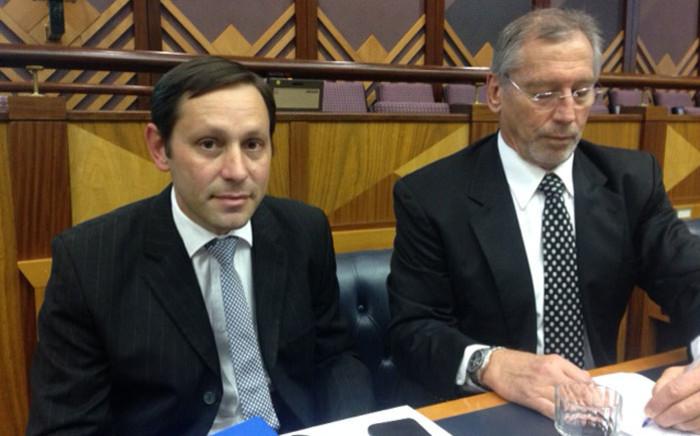 FILE: Former Steinhoff CFO Ben la Grange with his senior counsel, John Dickerson, appear in Parliament on 29 August 2018. Picture: Gaye Davis/EWN