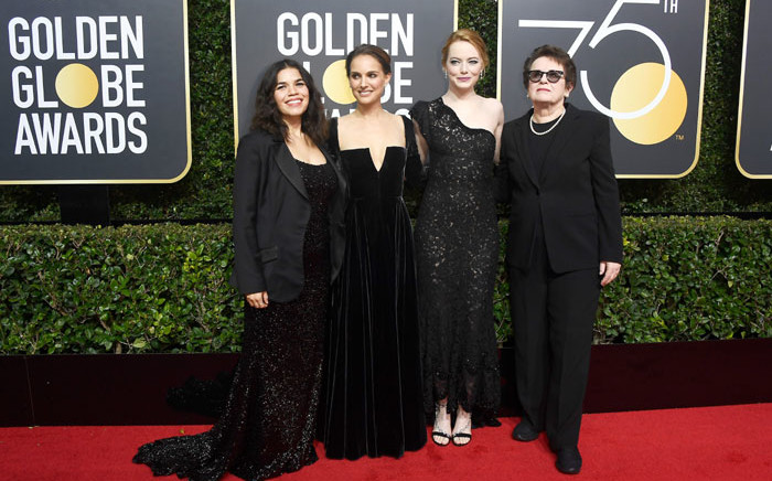 FILE: (L-R) Actors America Ferrera, Natalie Portman, Emma Stone, and former tennis player Billie Jean King attend The 75th Annual Golden Globe Awards at The Beverly Hilton Hotel on 7 January, 2018 in Beverly Hills, California. Picture: AFP