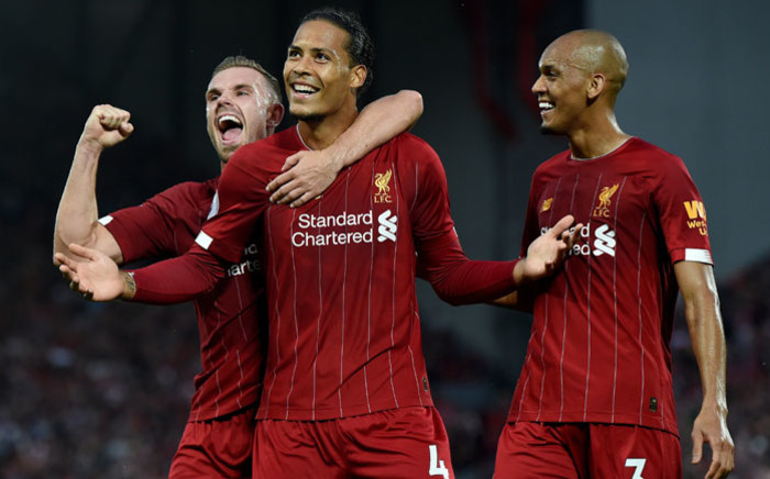 Liverpool's Virgil van Dijk (centre) celebrates his goal against Norwich City with teammates on 9 August 2019. Picture: @LFC/Twitter