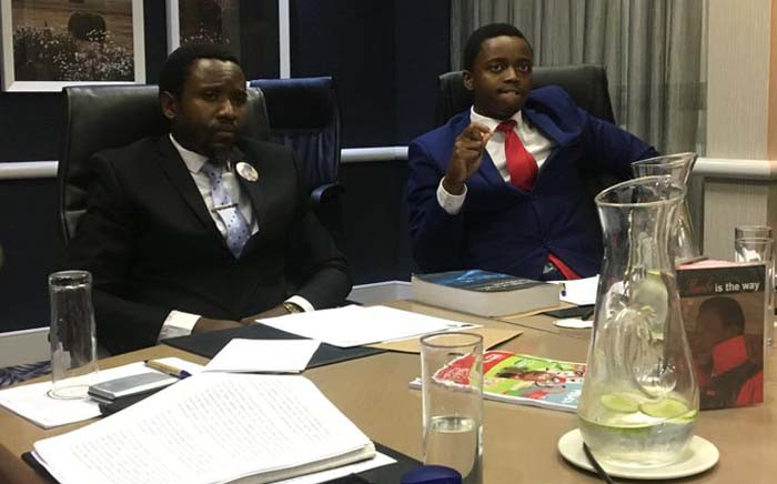 Thulezwile Ndawo and Nduduzo Memela of the eBuhleni faction of the Nazareth Baptist Church at a press conference on 26 December 2019. Picture: Nkosikhona Duma/EWN.