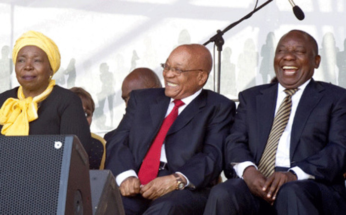 FILE: President Jacob Zuma with Deputy President Cyril Ramaphosa anc ANC MP Nkosaza Dlamini Zuma during the 60th Anniversary of the National Women's Day celebrations at the Union Buildings, Pretoria. Picture: The Presidency/Flickr