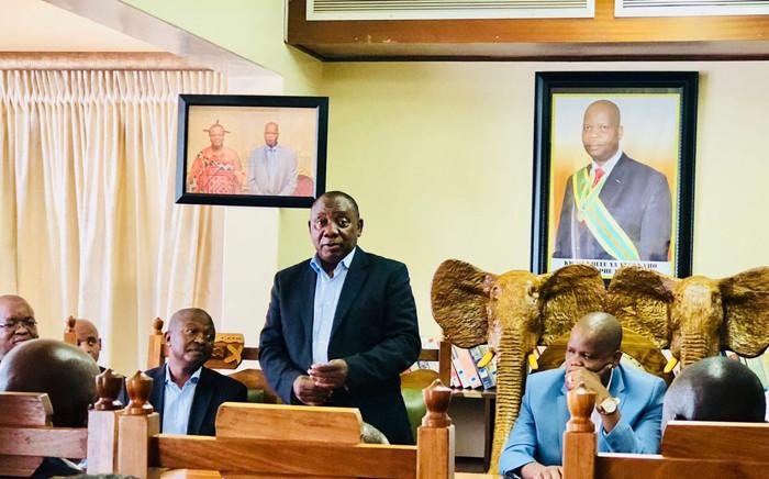 African National Congress President Cyril Ramaphosa on Saturday 3 February 2018 at a meeting with Vhavenda King  Mphephu Ramabulana. Picture: Twitter/@MyANC