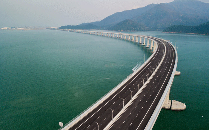 An aerial view taken on 22 October 2018, shows a section of the Hong Kong-Zhuhai-Macau Bridge (HKZM) in Hong Kong. Picture: AFP.