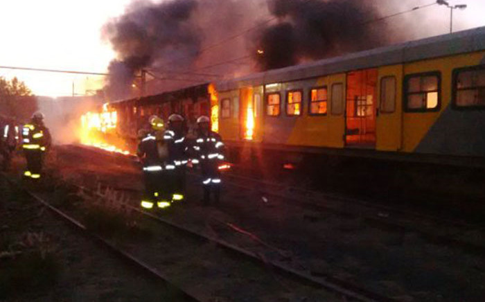 Three Metrorail carriages set alight at the Cape Town Metrorail station. Picture: Shantel Moses/Supplied.