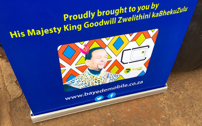 A view of a banner at the launch of Bayede Mobile, the Zulu royal family's mobile network service, on 1 November 2019. Picture: Nkosikhona Duma/EWN