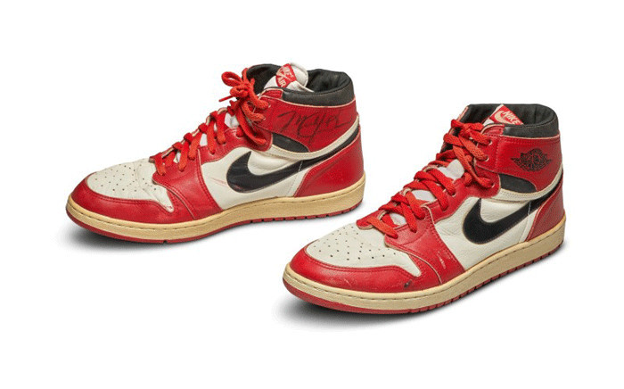 Michael Jordan's Game Worn 1985 Player Sample Air Jordan 1s.. Picture: sothebys.com