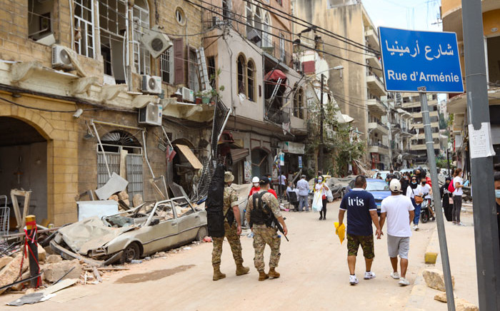 Residents inspect the damage along Gouraud Street in the Gemayzeh neighbourhood of Beirut to clear debris on 6 August 2020, two days after a massive explosion shook the Lebanese capital. Picture: AFP