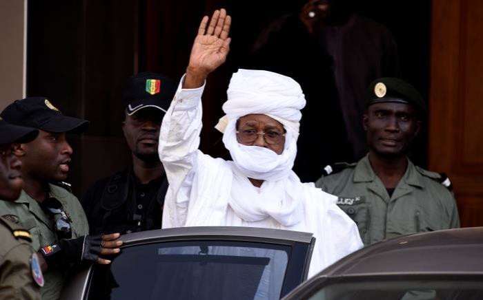 FILE: Former Chadian dictator Hissene Habre gestures as he leaves a Dakar courthouse after an identity hearing in June. Picture: AFP