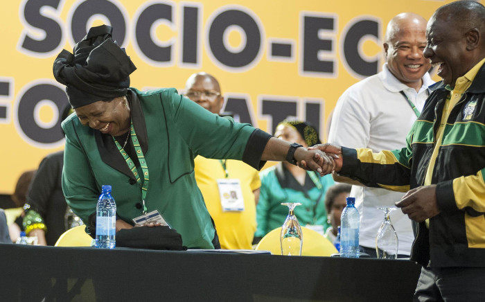 Nkosazana Dlamini Zuma and Cyril Ramaphosa share a laugh before the start of the ANC's 54th national conference on 16 December 2017. Picture: Ihsaan Haffejee/EWN