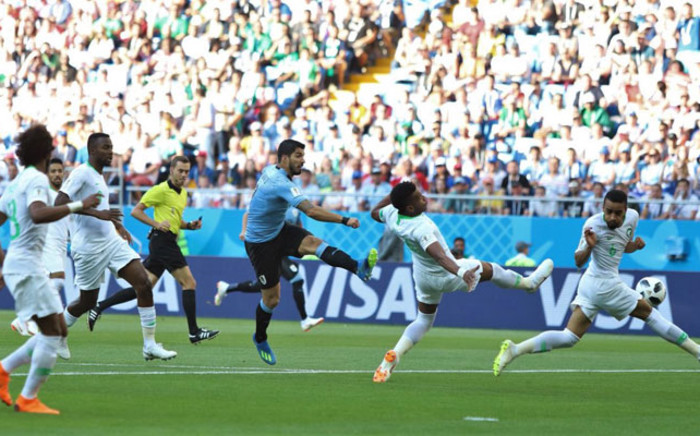 Uruguay's Luiz Suarez has a shot at goal during the World Cup match against Saudi Arabia on 20 June, 2018. Picture: @Uruguay/Twitter