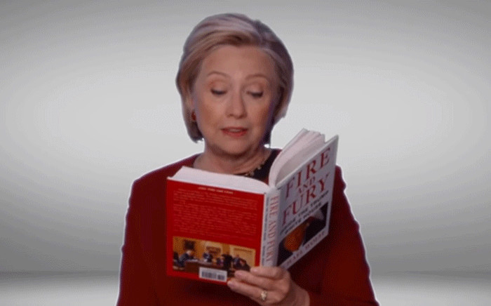 A screengrab shows Hillary Clinton read excerpts from Michael Wolff's book 'Fire and Fury' during a pre-taped parody sketch. Picture: The Late Late Show with James Corden/Youtube.com