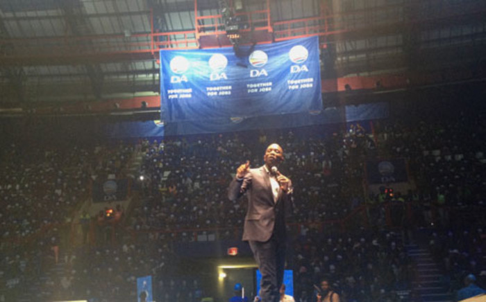 The DA's Gauteng premier candidate Mmusi Maimane speaking at the party's Gauteng manifesto launch at Ellis Park on 29 March. Picture: Govan Whittles/EWN.