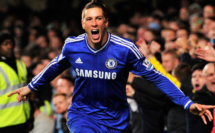 Chelsea's striker Fernando Torres celebrates his goal during the English Premier League football match against Manchester City at Stamford Bridge on 27 October, 2013. Picture: AFP