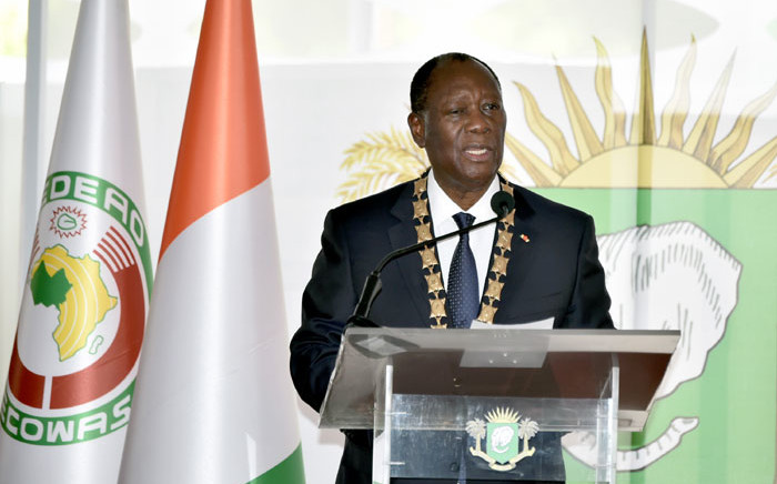 Ivorian President Alassane Ouattara delivers a speech on 14 December 2020 during his inauguration ceremony in Abidjan. Picture: AFP
