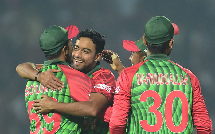 FILE: Bangladesh's Abu Jayed (2L) celebrates with his teammates after the dismissal of Sri Lanka's Thisara Perera during the second Twenty20 (T20) cricket match between Bangladesh and Sri Lanka at the Sylhet International Cricket Stadium in Sylhet on 18 February 2018. Picture; AFP