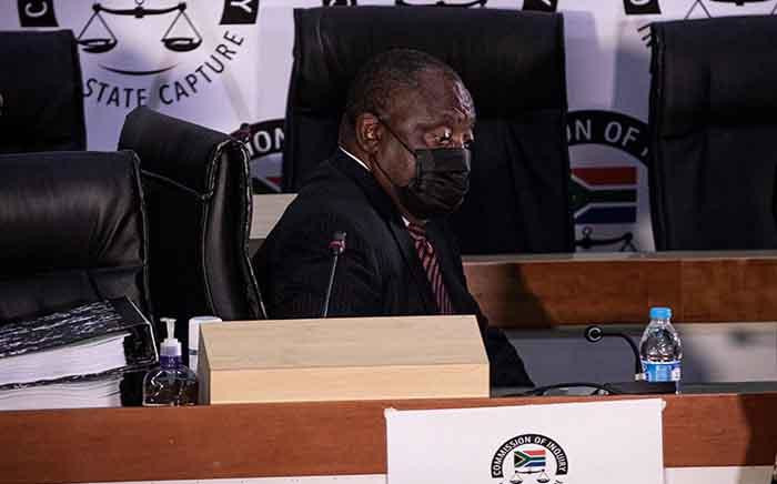 ANC President Cyril Ramaphosa appears at the Zondo commission of inquiry into state capture on 28 April 2021. Picture: Xanderleigh Dookey Makhaza/Eyewitness News