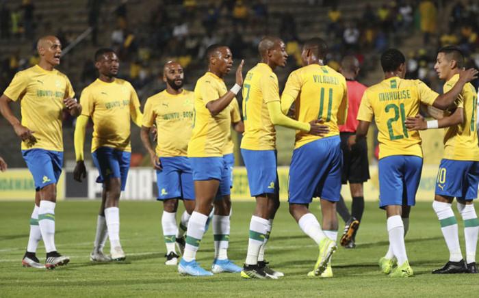 Mamelodi Sundowns players celebrate a win in the CAF Champions League. Picture: @Masandawana/Twitter