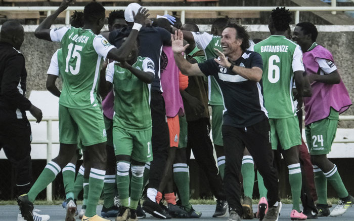 FILE: Turkish head coach of Kenya's Gor Mahia, Hassan Oktay (3rd-R) celebrates with players after a goal against Egypt's Zamalek during their CAF Confederation cup at Kasarani Stadium in Nairobi, Kenya, on 3 February 2019. Picture: AFP