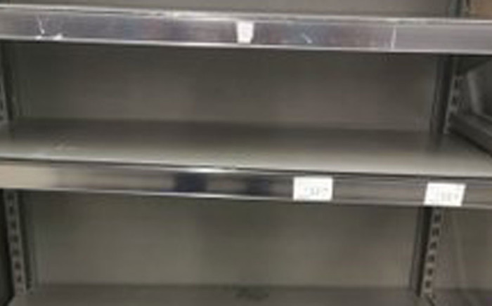 Empty shelves at a supermarket in South Africa. Picture: Supplied.
