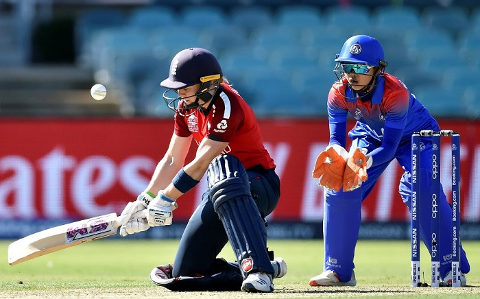 England's Heather Knight plays a shot during the Twenty20 women's World Cup cricket match between England and Thailand in Canberra on 26 February 2020. Picture: AFP