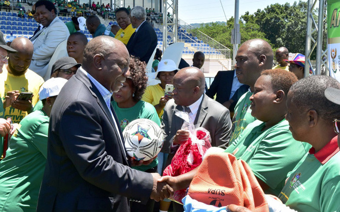 President Cyril Ramaphosa, joined by Sports Minister Tokozile Xasa and acting premier Sihle Zikalala, officially hands over the new world-class Msunduzi Athletics Track to the local municipality and sports fraternity in Pietermaritzburg, KwaZulu-Natal. Picture: GCIS.