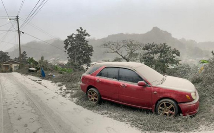 This April 10, 2021, handout image courtesy of the UWI Seismic Research Centre shows a car and road covered in ash after the 9 April eruption of the La Soufriere Volcano in Saint Vincent. Picture: AFP