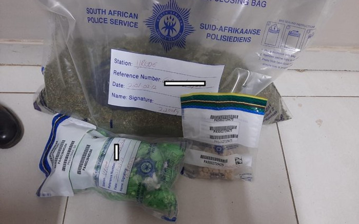 On Friday 12 March 2021, Phuthaditjhaba Tactical Response Team followed up on information and arrested three suspects aged between 22 and 40 for dealing in drugs. Picture: Twitter/@SAPoliceService