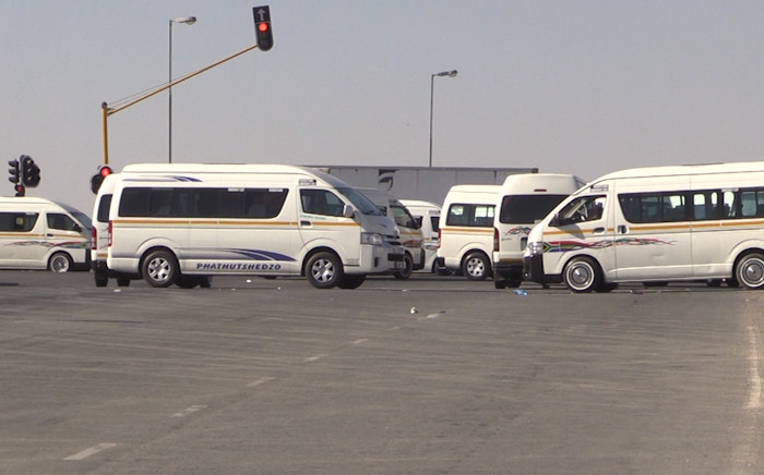 Taxis block routes in Gauteng during a strike. Picture: Kgothatso Mogale/EWN
