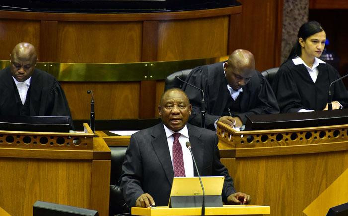 President Cyril Ramaphosa gives his response to the State of the Nation Address debate on 20 February 2018. Picture: Twitter/@PresidencyZA