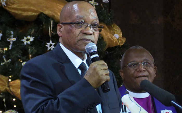 President Jacob Zuma delivers a speech during the memorial service at Bryanston Church, north of Johannesburg on 8 December 2013. Picture: Christa Van der Walt/EWN.