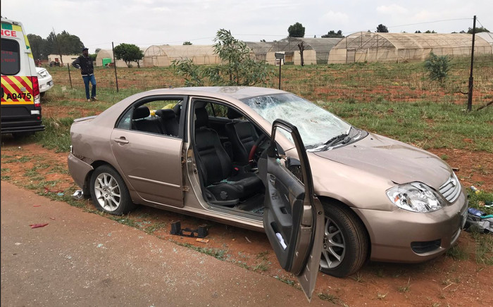 One of the cars riddled with bullets at the scene of a shooting in Zuurbekom. Picture: Christa Eybers/EWN