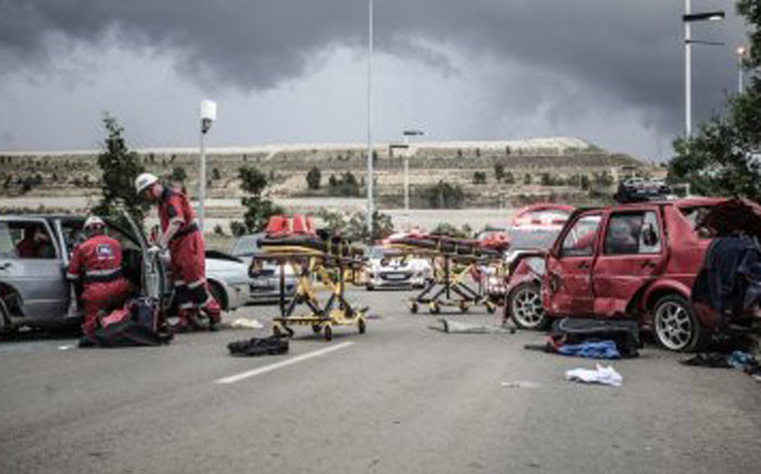 A car collided with a taxi leaving fourteen injured. Picture: Twitter @ER24EMS