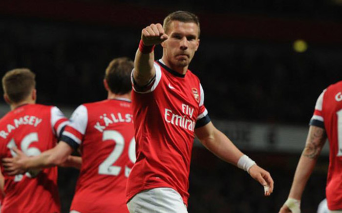 Lukas Podolski struck twice to help Arsenal beat West Ham 3-1 in the English Premier League on 15 April 2014. Picture: Facebook.