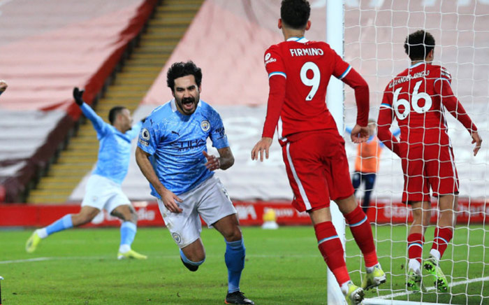 Manchester City's Ilkay Gundogan celebrates his goal against Liverpool at Anfield on 7 February 2021. Picture: @ManCity/Twitter