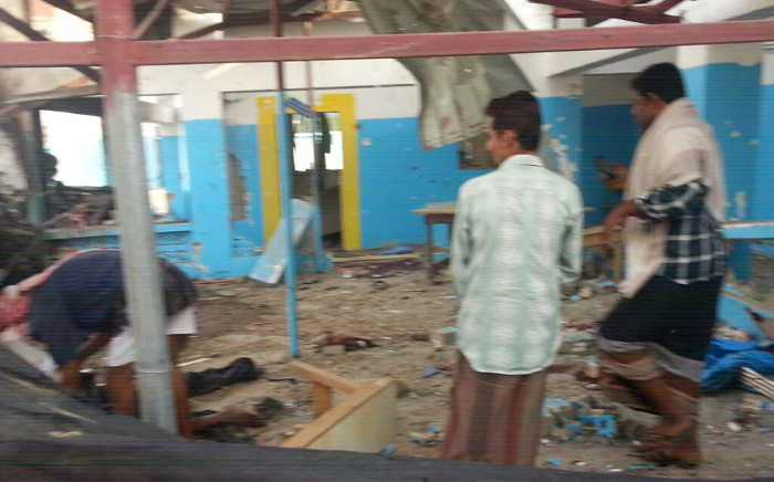 This hand out picture released by Doctors Without Borders (MSF) shows people examining a hospital operated by the NGO after it was hit by an Arab coalition air strike on 15 August, 2016 in Abs. Picture: AFP.