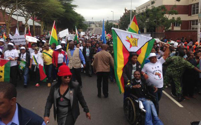 Thousands join the peace march in Durban on 16 April 2015. Police keeping close watch at the hotspots. Picture: Govan Whittles/EWN.