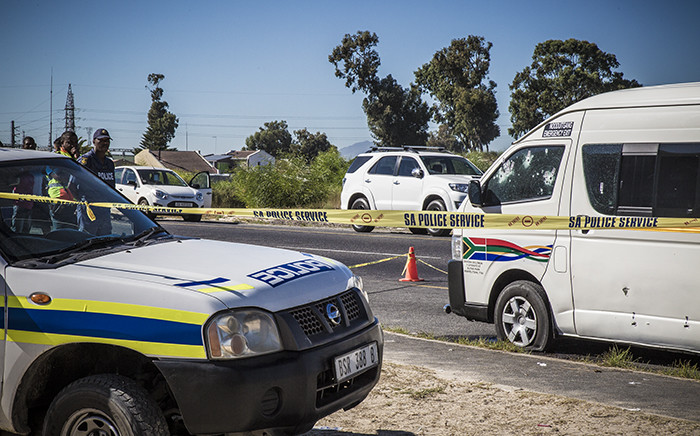 The bullet-ridden taxi in Blue Downs after police mistakenly opened fire on it, killing two of the occupants. Picture: Thomas Holder/EWN.