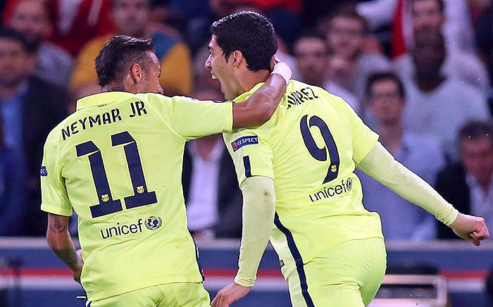 Luis Suarez and Neymar celebrate beating PSG in their first leg quarterfinal Champions League match in Paris on 15 April 2015. Picture: FCB FB.