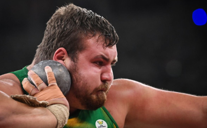 South Africa's Kyle Blignaut competes in the men's shot put qualification during the Tokyo 2020 Olympic Games at the Olympic Stadium in Tokyo on August 3, 2021. Picture: Andrej Isakovic / AFP