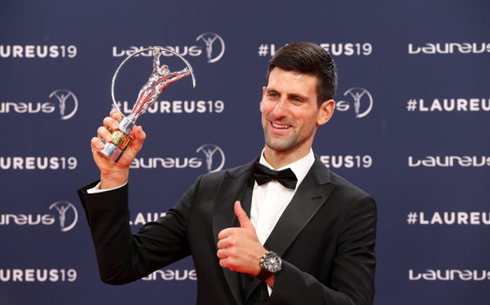 Laureus World Sportsman of The Year 2019 winner Serbia's tennis player Novak Djokovic poses with his award at the 2019 Laureus World Sports Awards ceremony at the Sporting Monte-Carlo complex in Monaco on 18 February 2019. Picture: AFP.
