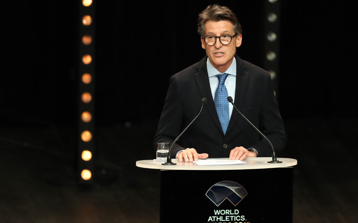 FILE: President of the International Association of Athletics Federations (IAAF) Sebastian Coe gives a speech to award the world record holders during the IAAF World Athletics Awards ceremony, on 23 November 2019, in Monaco. Picture: AFP